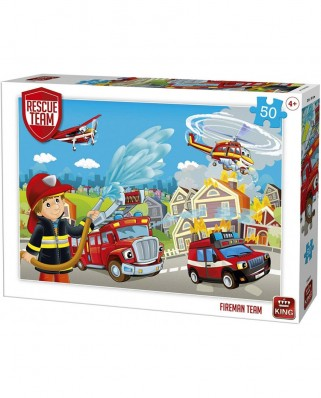 Puzzle King International - Rescue Team - Fireman Team, 50 piese (55841)