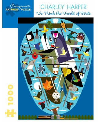 Puzzle Pomegranate - Charley Harper: We Think the World of Birds, 1.000 piese (AA1056)