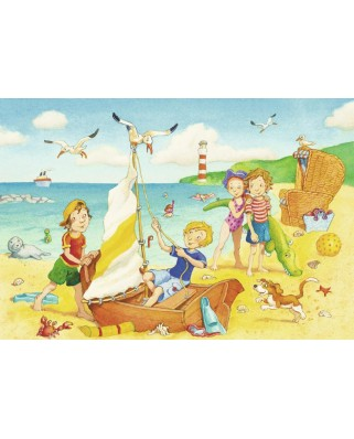 Puzzle Ravensburger - Children at the Beach, 2x24 piese (08880)