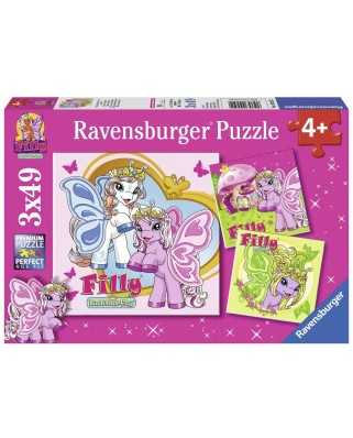 Puzzle Ravensburger - Filly's Butterfly Friends, 3x49 piese (09251)
