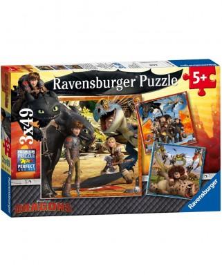 Puzzle Ravensburger - Dragons - Dragon Rider, 3x49 piese (09258)