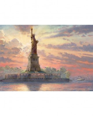 Puzzle fosforescent Schmidt - Thomas Kinkade: Statue of Liberty at Dusk, 1.000 piese (59498)