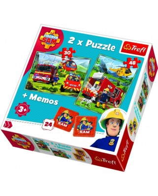 Puzzle Trefl - Memo - Fireman Sam, 30/48 piese (90791)