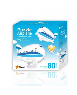 Puzzle 3D din plastic Pintoo - Airplane Puzzle - Sky Blue Airline, 80 piese (E5186)
