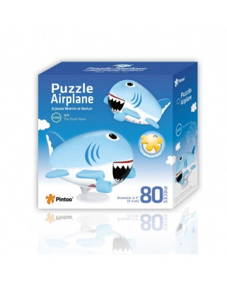 Puzzle 3D din plastic Pintoo - Airplane Puzzle - The Shark Plane, 80 piese (E5185)