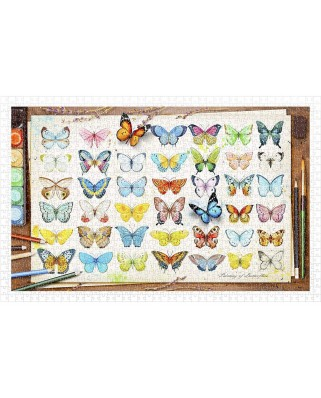 Puzzle din plastic Pintoo - Beautiful Butterflies, 1000 piese (H2027)