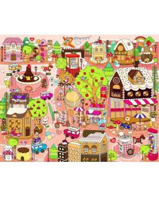 Puzzle din plastic Pintoo - Candy Village, 80 piese (T1013)