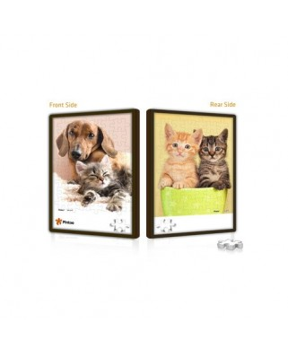 Puzzle din plastic Pintoo - Cat and Dog, 48 piese fata/verso (U1028)