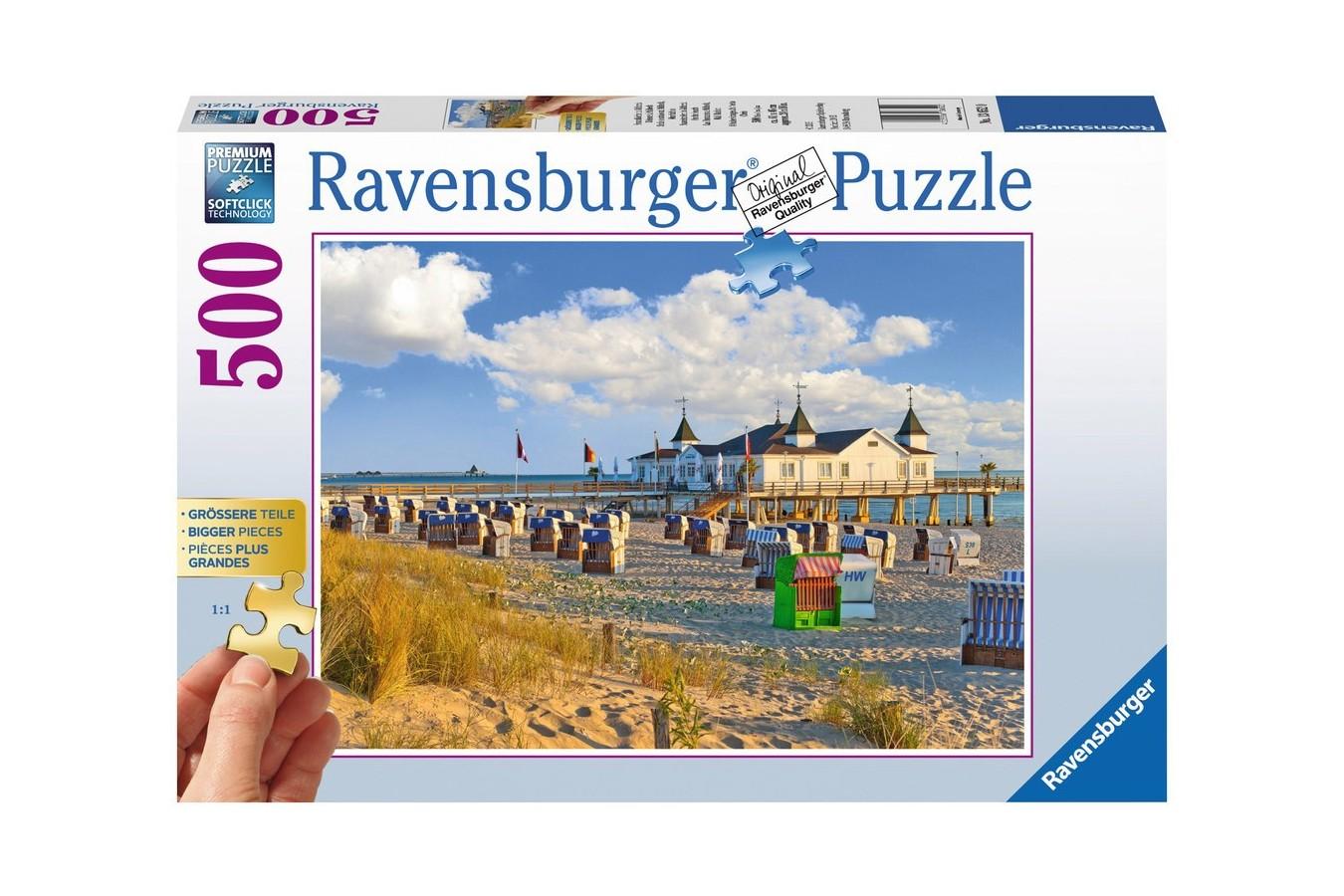 Puzzle Ravensburger - Sezlonguri Pe Plaja, 500 piese (13652)