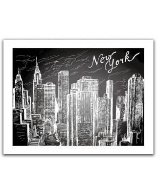 Puzzle din plastic Pintoo - New-York City, 300 piese alb-negru (H1525)