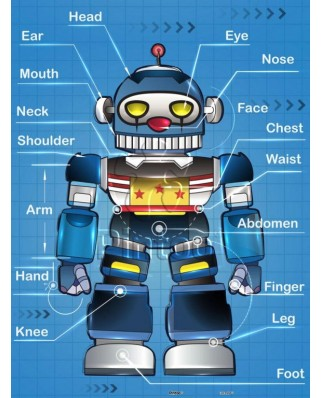 Puzzle din plastic Pintoo - Robot, 48 piese (T1010)