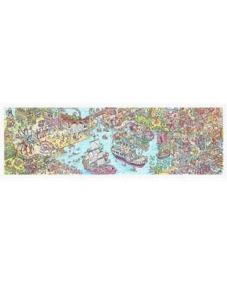 Puzzle panoramic din plastic Pintoo - Tom Parker: Dino City and Bay, 2.000 piese (H1954)