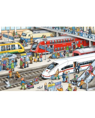 Puzzle Schmidt - At The Train Station, 60 piese, contine eticheta bagaje (56328)