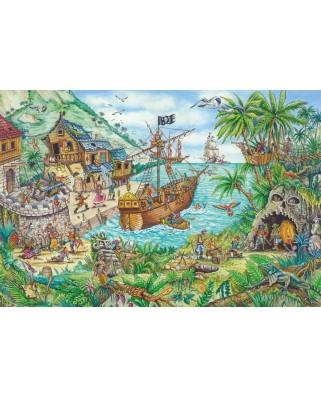 Puzzle Schmidt - Pirate Cove, 100 piese, contine steag pirat (56330)