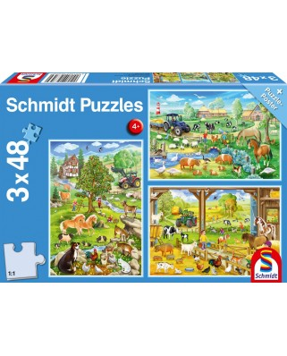 Puzzle Schmidt - Bauernhof, 3x48 piese (56353)