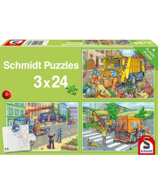 Puzzle Schmidt - Carbage Truck, Tow Truck, Sweeper, 3x24 piese (56357)