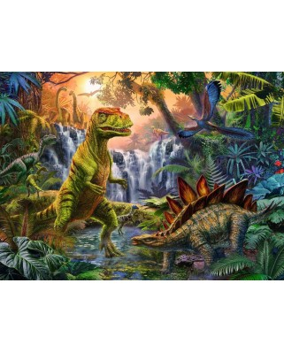 Puzzle Ravensburger - The Dinosaur Oasis, 100 piese XXL (12888)