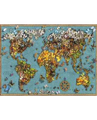 Puzzle Ravensburger - Butterfly World Map, 500 piese (15043)