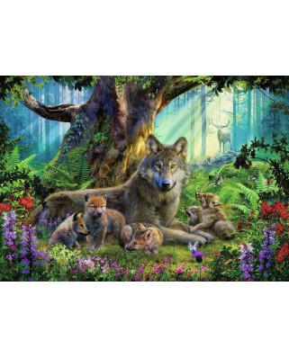 Puzzle Ravensburger - Family of Wolves in the Forest, 1.000 piese (15987)
