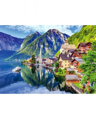 Puzzle TinyPuzzle - Hallstatt Lake and Village with Boat, 99 piese (1021)