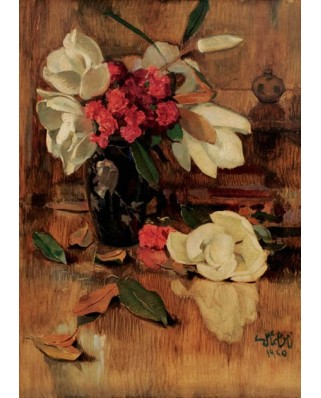 Puzzle Gold Puzzle - Namik Ismail: Magnolia and Clavels, 1.000 piese (Gold-Puzzle-60324)