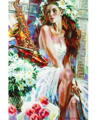 Puzzle Gold Puzzle - Girl with Peaches and Saxophone, 1500 piese (Gold-Puzzle-61079)