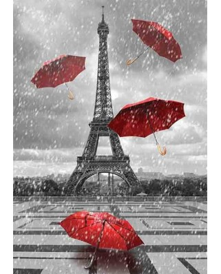 Puzzle Gold Puzzle - Eiffel Tower with Flying Umbrellas, 1.000 piese alb-negru (Gold-Puzzle-61383)