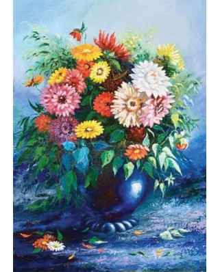 Puzzle Gold Puzzle - Flowers in Blue Vase, 500 piese (Gold-Puzzle-61482)