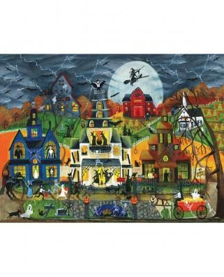 Puzzle SunsOut - Cheryl Bartley: Spooky Street, 300 piese XXL (Sunsout-54758)