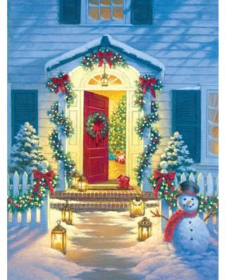 Puzzle SunsOut - Corbert Gauthier: Christmas Porch, 500 piese (Sunsout-55942)