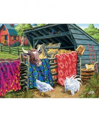 Puzzle SunsOut - Joseph Burgess: Quilt Cow, 300 piese XXL (Sunsout-38946)