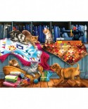 Puzzle SunsOut - Tom Wood: Quilting Room Mischief, 300 piese XXL (Sunsout-28832)