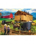 Puzzle SunsOut - Tom Wood: Raising the Barn, 500 piese (Sunsout-28910)