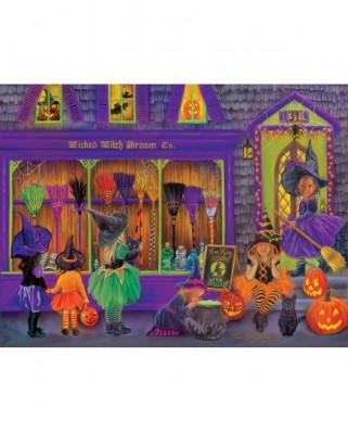 Puzzle SunsOut - Tricia Reilly-Matthews: Witch Broom Shop, 300 piese XXL (Sunsout-35970)