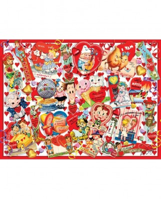 Puzzle SunsOut - Valentine Card Collage, 300 piese XXL (Sunsout-35147)