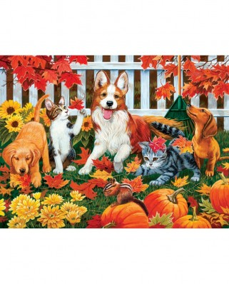 Puzzle SunsOut - William Vanderdasson: Collecting Fall Leaves, 500 piese (Sunsout-30421)