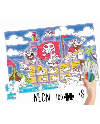Puzzle de colorat Educa - Pirates Colouring Puzzle, 100 piese (18070)