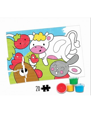 Puzzle de colorat Educa - Farm Animals Colouring Puzzle , 20 piese (18209)