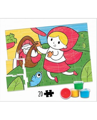 Puzzle de colorat Educa - Little Red Riding Hood Colouring Puzzle, 20 piese (18210)
