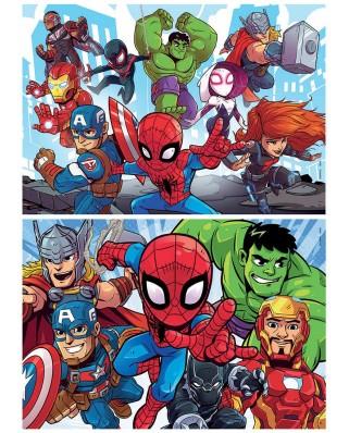Puzzle din lemn Educa - Marvel Super Heroe Adventures, 2x25 piese (18599)