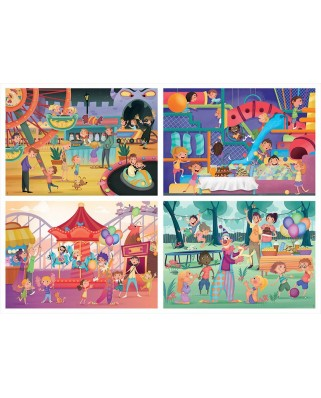 Puzzle Educa - Multi 4 Junior Park Attractions + Children'S Party, 20/40/60/80 piese (18601)