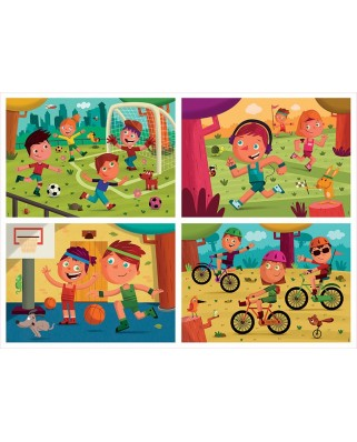 Puzzle Educa - Multi 4 Junior Sports, 20/40/60/80 piese (18602)
