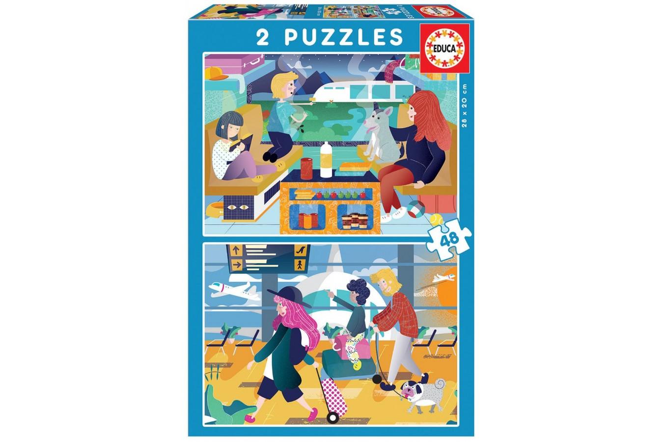 Puzzle Educa - Airport + Train, 2x48 piese (18604)