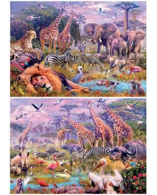Puzzle Educa - Wild Animals, 2x100 piese (18606)