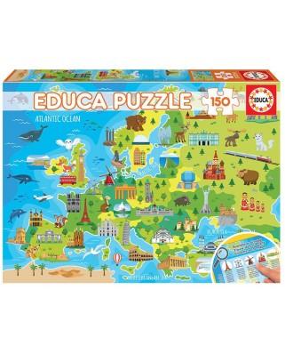 Puzzle Educa - Europe Map, 150 piese (18607)