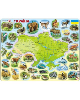 Puzzle Larsen - Ukraine Physical with Animals, 90 piese (K37-UA)