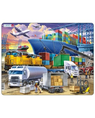 Puzzle Larsen - Busy Cargo Hub With Ships, Trucks, Trains and Planes, 37 piese (US44)