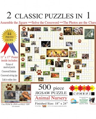 Puzzle SunsOut - Irv Brechner: Puzzle Combo: Animal Nursery, 500 piese (Sunsout-10160)