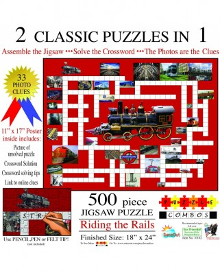 Puzzle SunsOut - Irv Brechner: Puzzle Combo: Riding the Rails, 500 piese (Sunsout-10162)