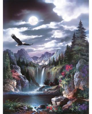 Puzzle SunsOut - James Lee: Moonlit Eagle, 300 piese (Sunsout-18048)